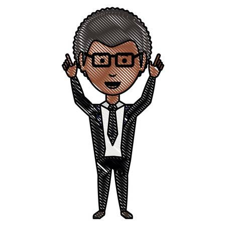 cartoon businessman wearing glasses over white background, colorful design. vector illustration Illustration