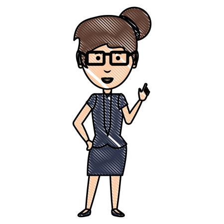 cartoon businesswoman wearing glasses and executive clothes over white background, colorful design. vector illustration