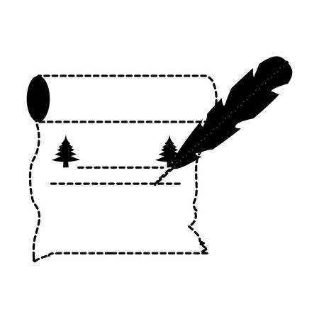 feather with christmas list on old paper scroll with pines icon over white background vector illustration