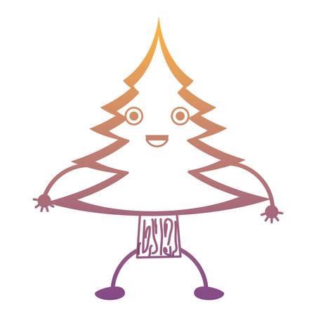 kawaii pine tree icon vector illustration. Illustration