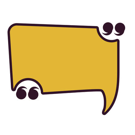 Quotation mark rectangle speech bubble icon over white background, colorful design. vector illustration