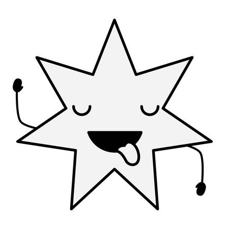 Kawaii star showing the tongue over white background vector illustration Vectores