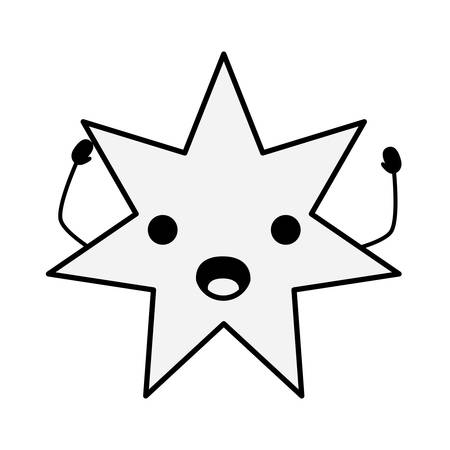 Kawaii surprised star icon over white background vector illustration