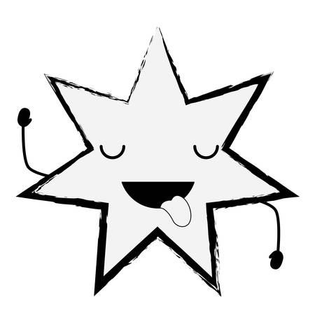 sketch of Kawaii star showing the tongue over white background vector illustration