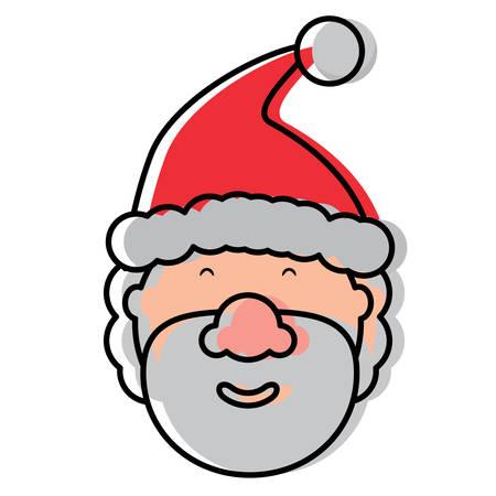 Cartoon santa claus smiling icon over white background, colorful design.  vector illustration Illustration
