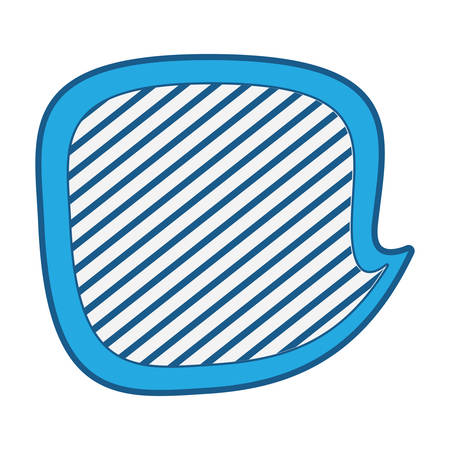 Speech bubble icon over white background, striped and blue shading design. vector illustration Illustration