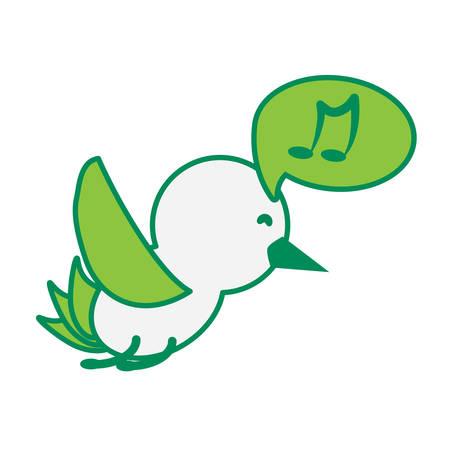 cute bird singing icon over white background, green shading design. vector illustration Illustration