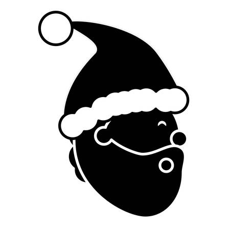 Cartoon santa claus head icon over white background vector illustration