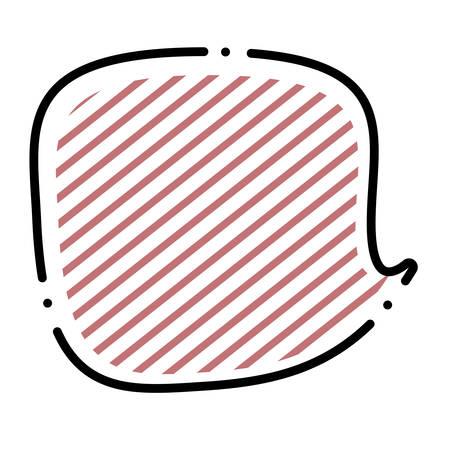 Speech bubble icon over white background, striped colorful design. vector illustration