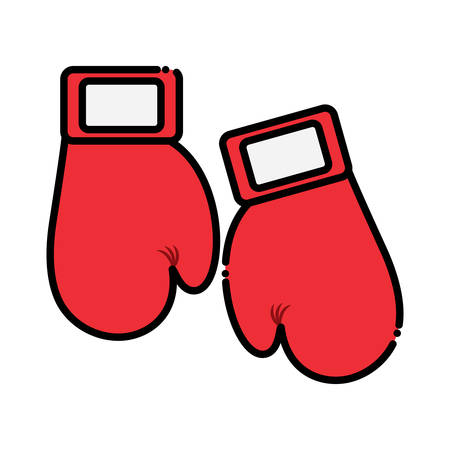 Boxing gloves icon over white background, colorful design. vector illustration