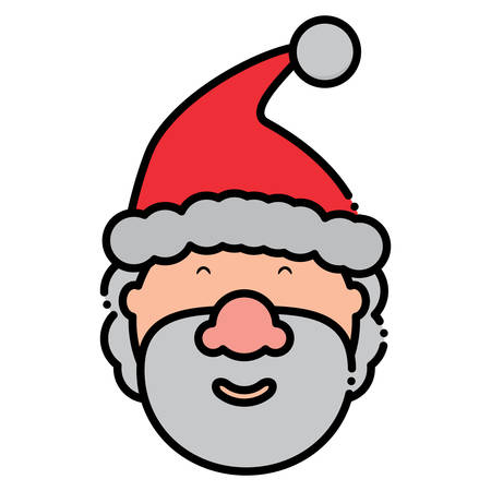 Cartoon santa claus smiling icon over white background, colorful design. vector illustration Illustration