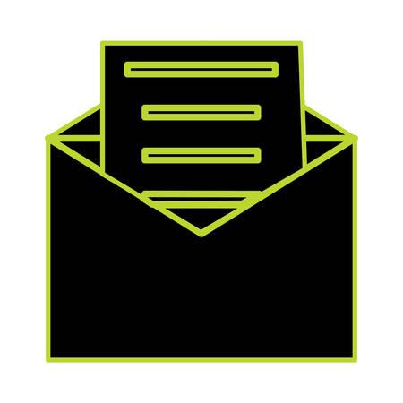 envelope with a letter icon over white background vector illustration Illustration