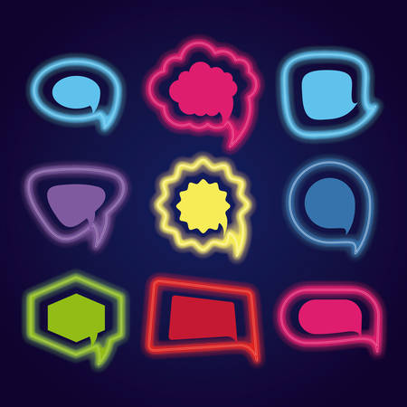 Icon Set Of Different Types Of Speech Bubbles Over Blue Background