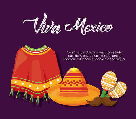 Viva mexico with mexican culture related icons over purple background, colorful design vector illustration