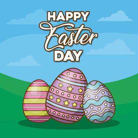Happy easter design with easter eggs over landscape background vector illustration