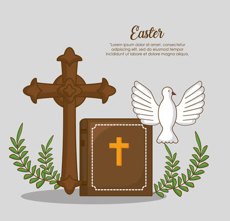 easter celebration design with Christian cross and bibble with dove  over background, colorful design vector illustration