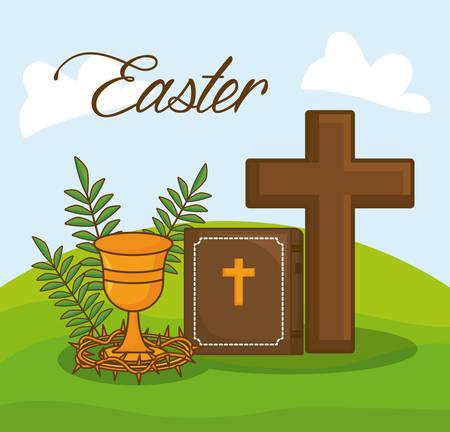 easter celebration design with bible and christianity symbols over landscape background, colorful design vector illustration