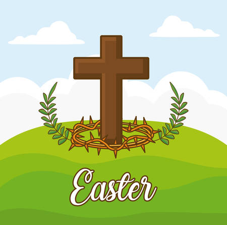 easter celebration design with Christian cross icon over landscape background, colorful design vector illustration