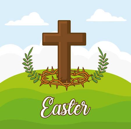 easter celebration design with Christian cross icon over landscape background, colorful design vector illustration