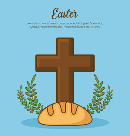 easter celebration design with wreath of leaves with Christian cross and bread icon over blue background, colorful design vector illustration Illustration