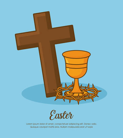 easter celebration design with Christian cross and holy grail with crown of thorns over blue background, colorful design vector illustration