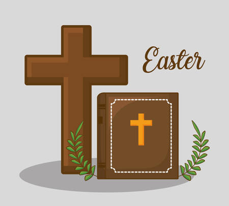 easter celebration design with Christian cross and bibble icon over gray background, colorful design vector illustration