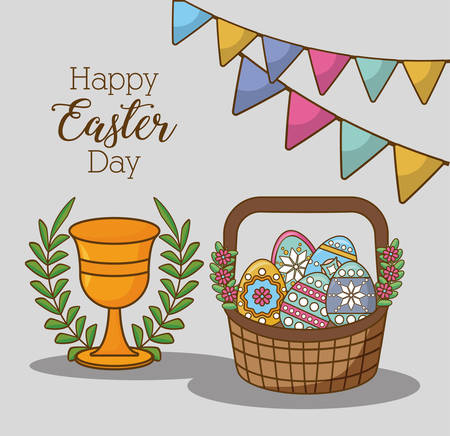 Happy Easter day card design with baster full of eggs golden chalice with wreath Illustration