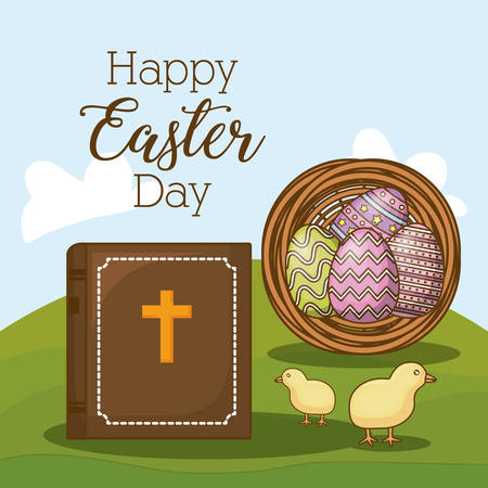 Happy Easter day design with bible, eggs and little chicken on the grass