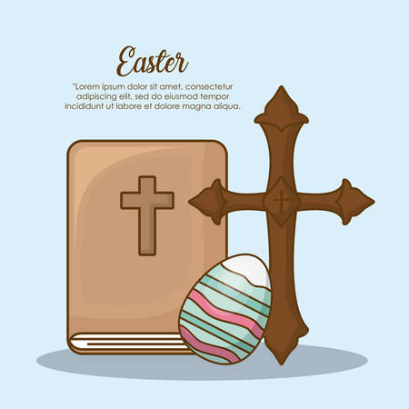 Happy easter day design with cross and bible icon over blue background, colorful design vector illustration