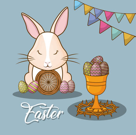 Easter day design with cute bunny with eggs and holy grail over blue background vector illustration