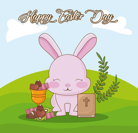 Happy Easter day design with rabbit and candy illustration.