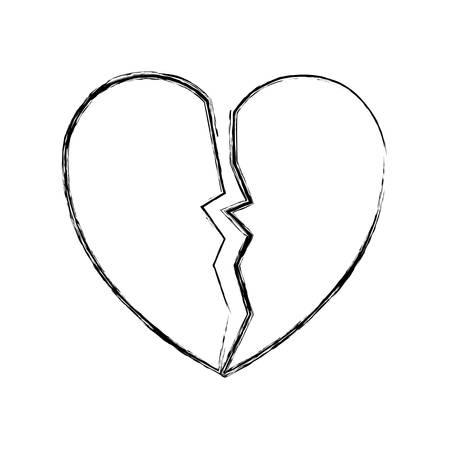 sketch of broken heart icon over white background vector illustration Ilustração
