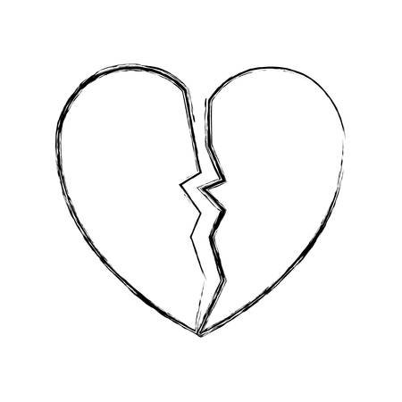 sketch of broken heart icon over white background vector illustration Illustration