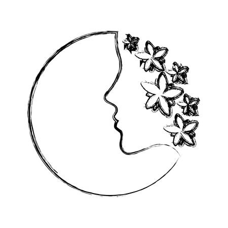 sketch of decorative frame with flowers and womans face silhouette icon over white background vector illustration