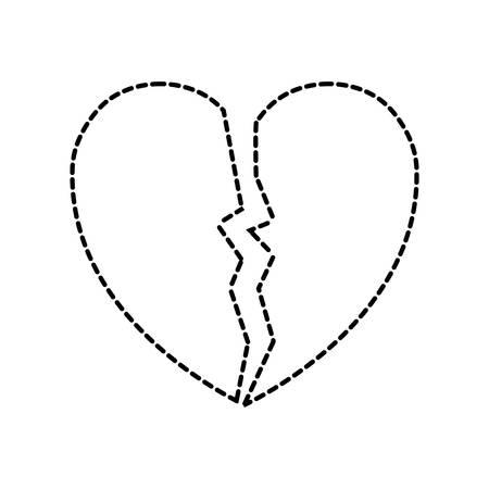broken heart icon over white background vector illustration