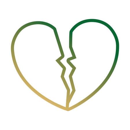 broken heart icon over white background, colorful line design vector illustration