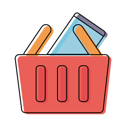 colorful shopping basket with smartphone over white background vector illustration