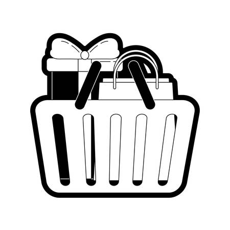 uncolored shopping basket with gift and bag over white background vector illustration