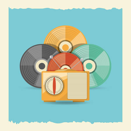 vinyl disks and retro radio icon over blue background, colorful design. vector illustration Illustration
