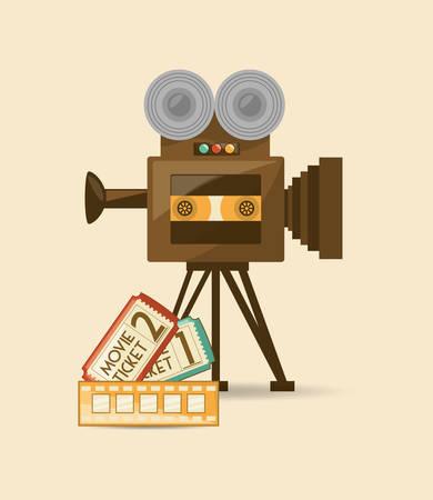 Retro videocamera and movie tickets icon over white background, colorful design vector illustration