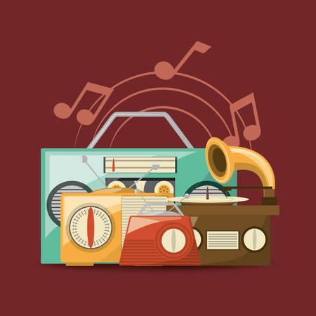 Retro music devices over red background, colorful design vector illustration Ilustração