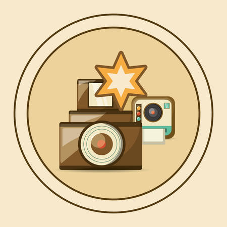 vintage design with decorative circle and retro cameras icon over colorful background, vector illustration Illustration