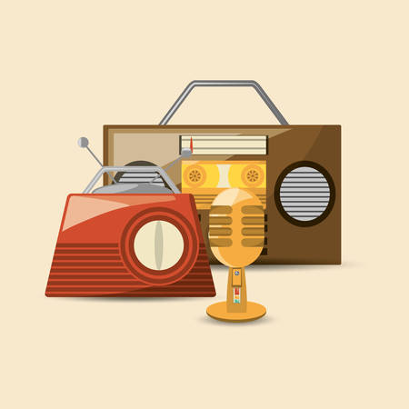 retro radio and microphone icon, colorful vintage design vector illustration Illustration