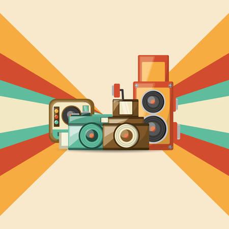 Retro cameras design Illustration