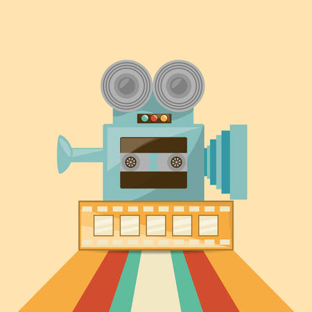 Retro videocamera and film tape icon over striped and yellow background, colorful design vector illustration