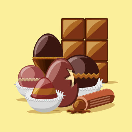 chocolate egg and truffle with chocolate bar over yellow background, colorful design vector illustration Vettoriali