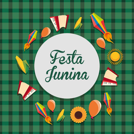 Colorful design of Festa junina with related icons around over green background, vector illustration