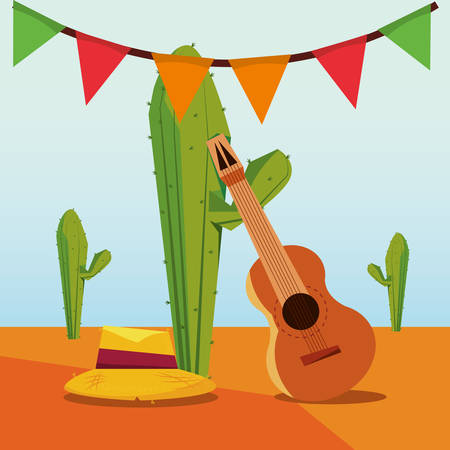 festa junina design with hat and guitar over cactus plants, colorful design vector illustration
