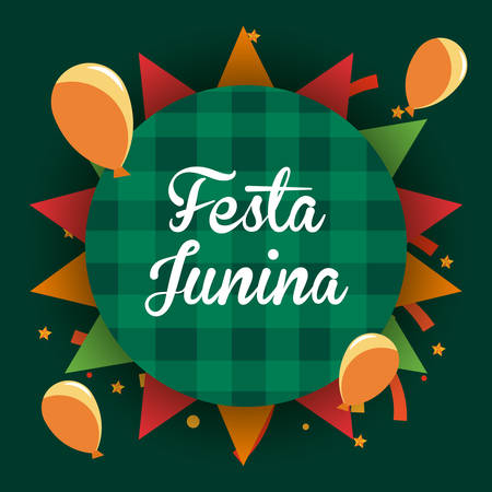 colorful design of Festa junina with balloons around over green background, vector illustration