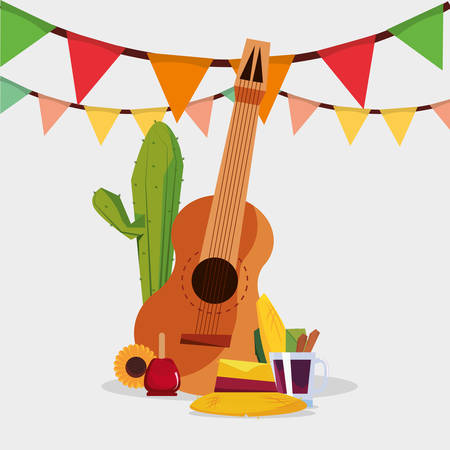 Festa junina design with guitar and related icons over white background, colorful design vector illustration Illustration